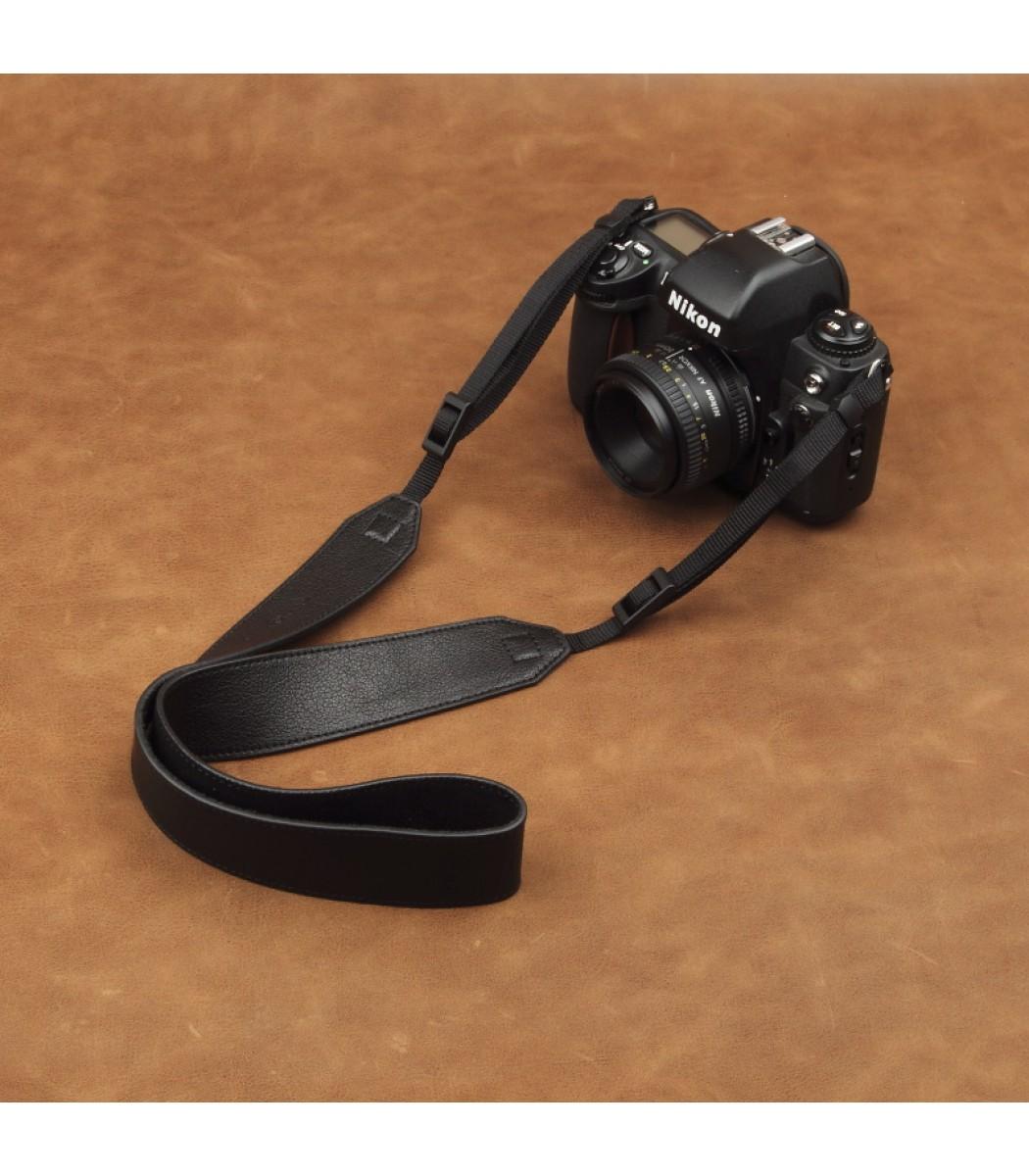 Wide black leather adjustable dslr camera strap by cam in for Black leather strap