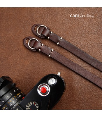 Leather Camera Strap with ring connection by Cam-in - Dark Brown (white stitching)
