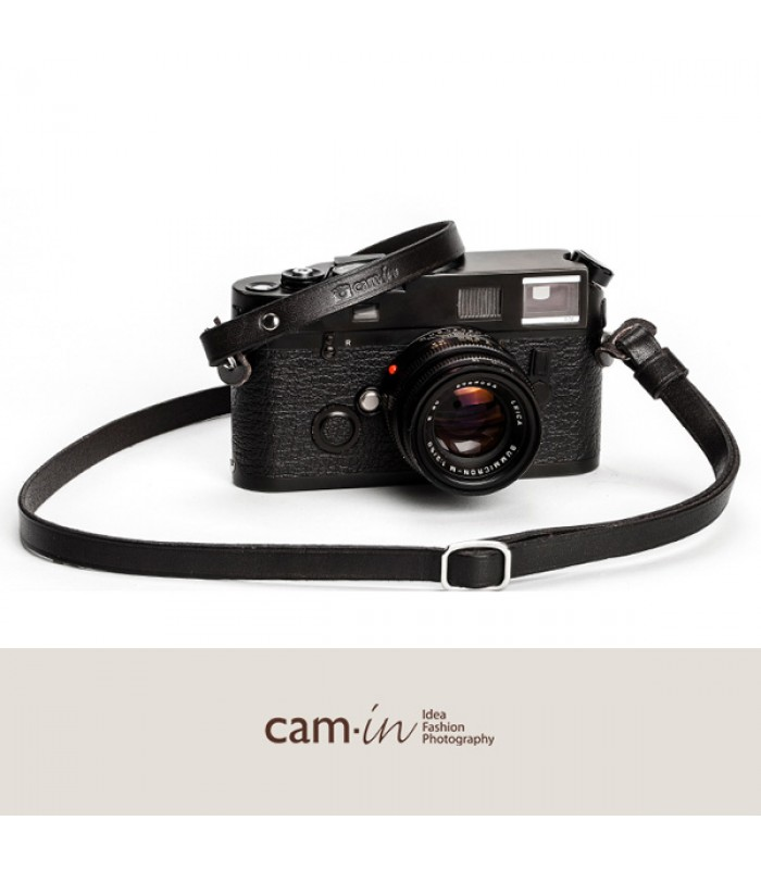 Black Adjustable Leather Camera Strap With Ring Connection