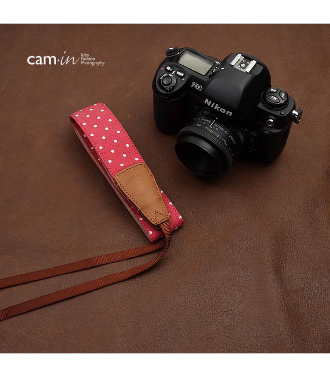 Denim Polka Dot DSLR Camera Strap by Cam-in - Red
