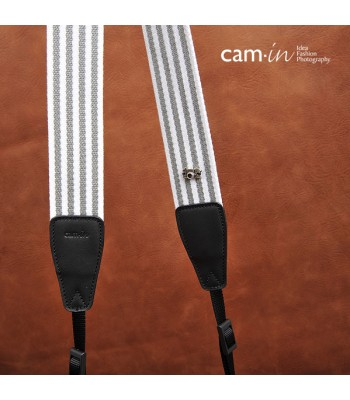 Grey and White Striped Adjustable  Cotton DSLR Camera Strap by Cam-in [DAMAGED BOX]