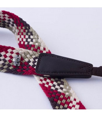 Woven cotton strap by Cam-in - Cream/green/brown/red